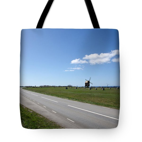 Tote Bag featuring the photograph Windmill At Roadside by Kennerth and Birgitta Kullman