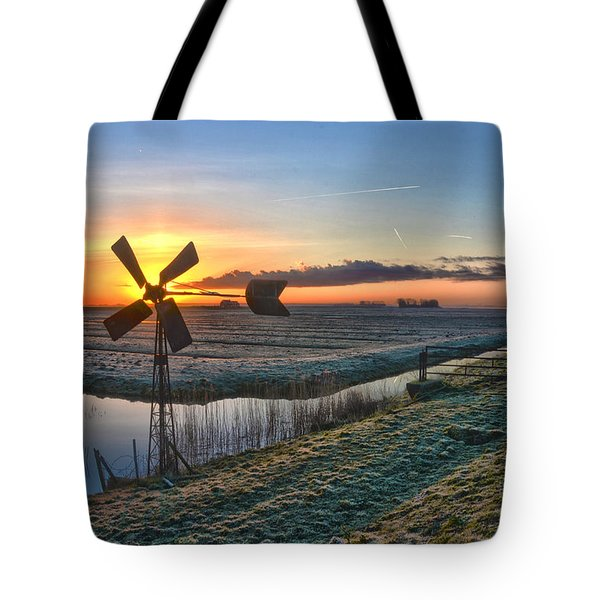 Windmill At Sunrise Tote Bag