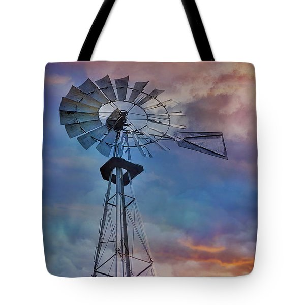 Tote Bag featuring the photograph Windmill At Sunset by Susan Candelario