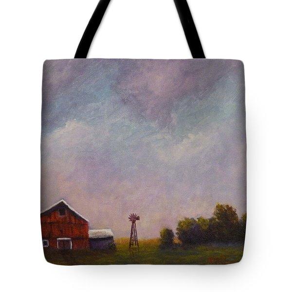 Windmill Farm Under A Stormy Sky. Tote Bag