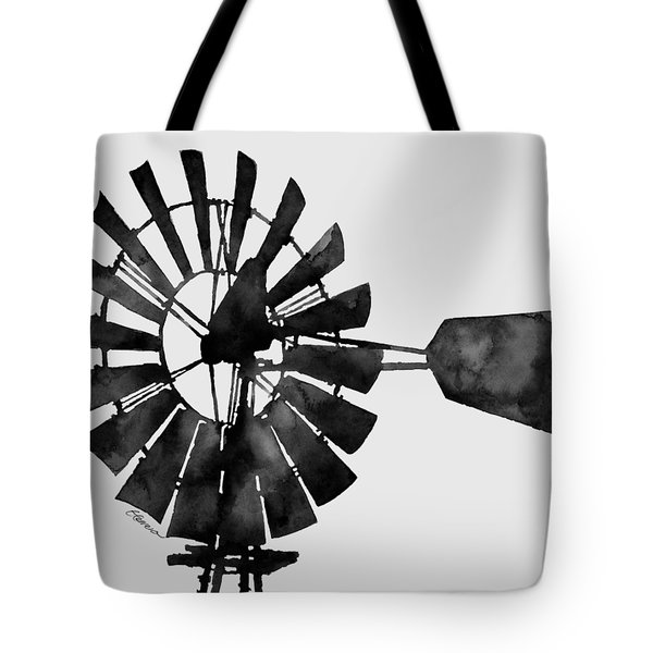 Windmill In Black And White Tote Bag