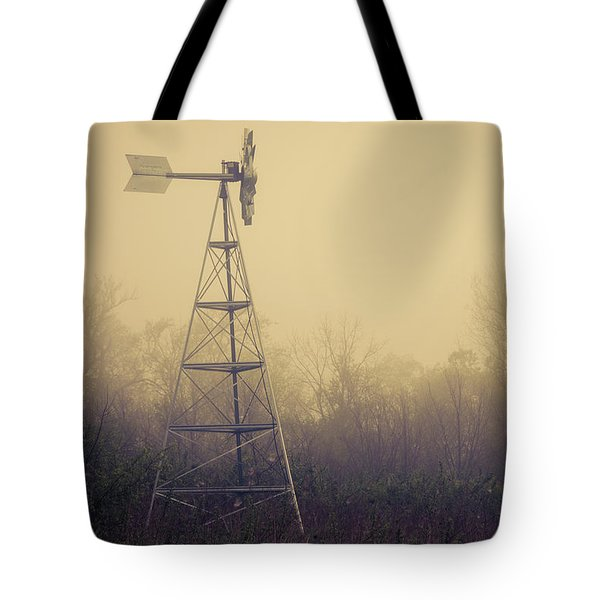 Windmill In The Foggy Dawn Tote Bag