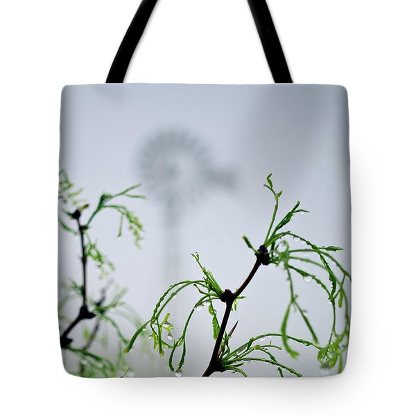 Windmill In The Mist Tote Bag
