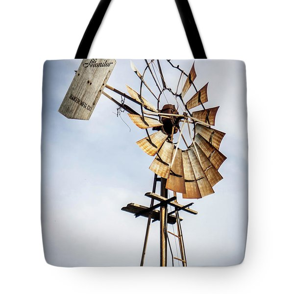 Tote Bag featuring the photograph Windmill In The Sky by Dawn Romine