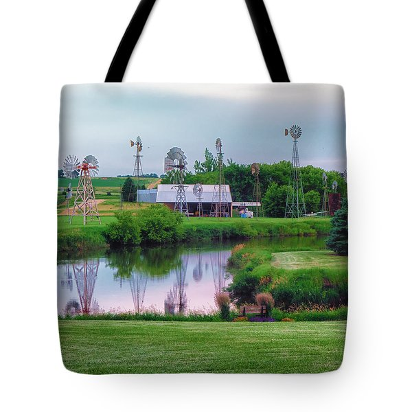 Windmill Landscape Tote Bag
