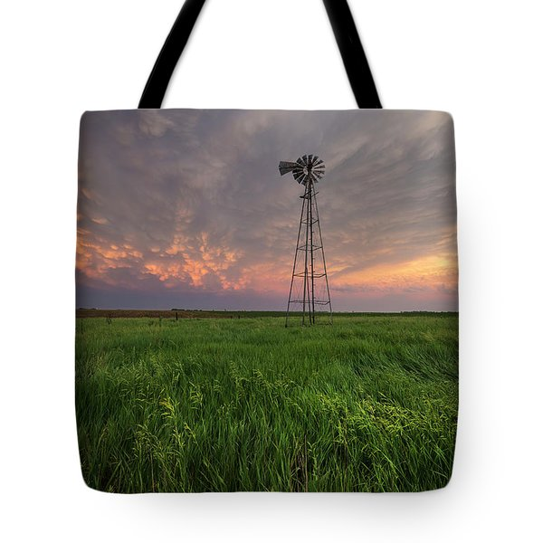 Tote Bag featuring the photograph Windmill Mammatus by Aaron J Groen
