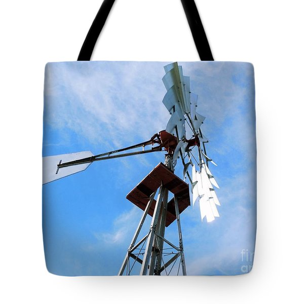 Tote Bag featuring the photograph Windmill - Mildly Cloudy Day by Ray Shrewsberry