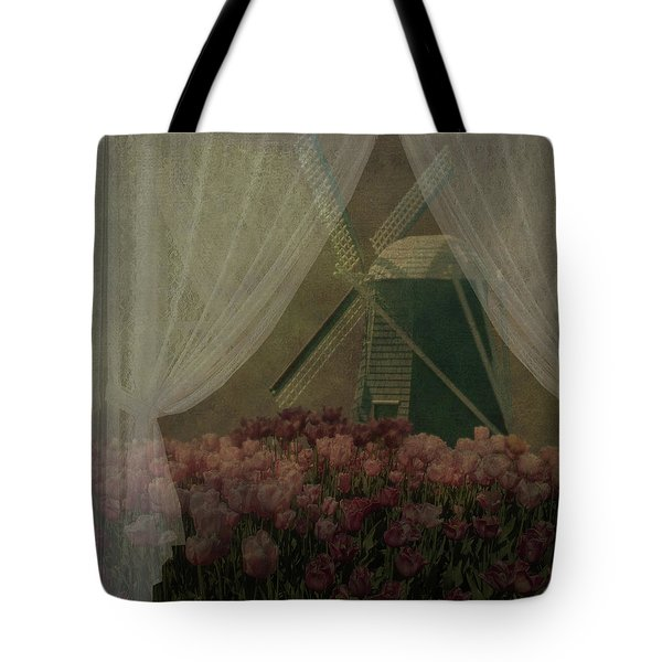 Tote Bag featuring the photograph Windmill Through Laced Curtain by Jeff Burgess