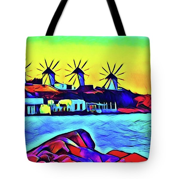 Windmills At Mykonos Tote Bag