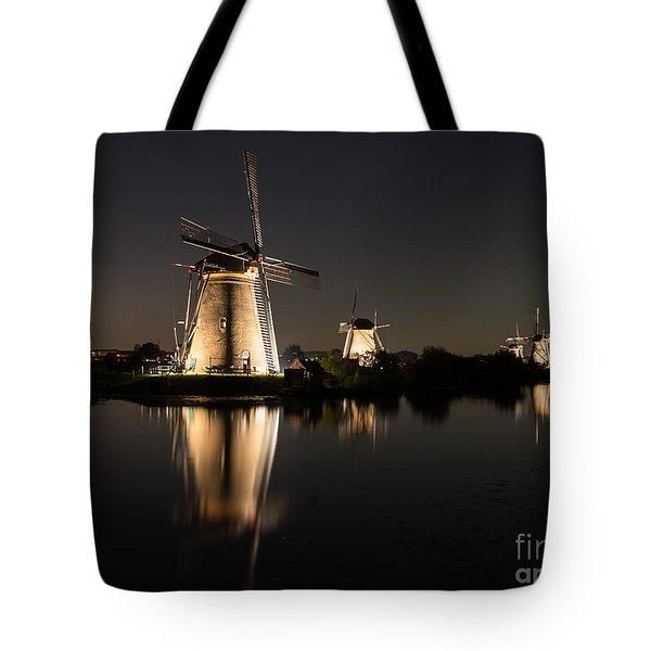 Windmills Illuminated At Night Tote Bag