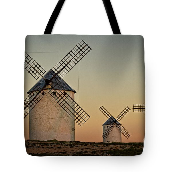 Tote Bag featuring the photograph Windmills In Golden Light by Heiko Koehrer-Wagner