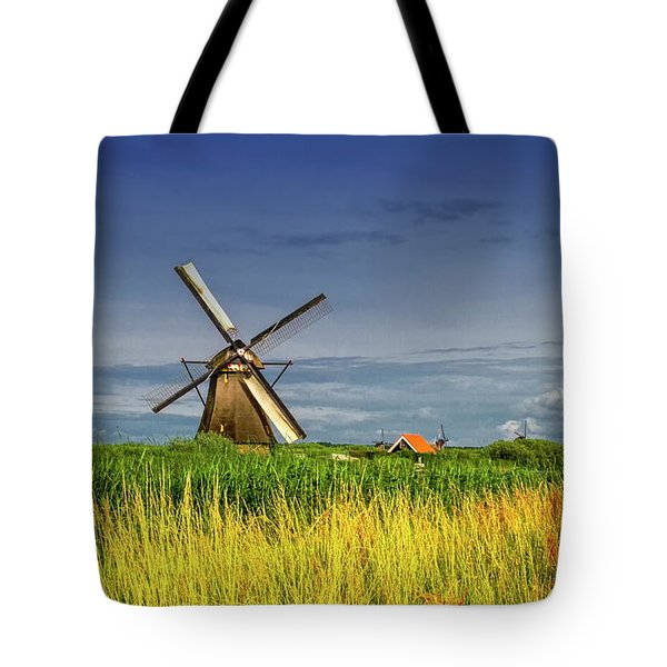 Windmills In Kinderdijk, Holland, Netherlands Tote Bag by Elenarts - Elena Duvernay photo