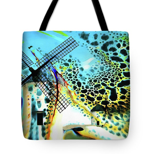 Tote Bag featuring the painting Windmills Of  La Mancha by Valerie Anne Kelly
