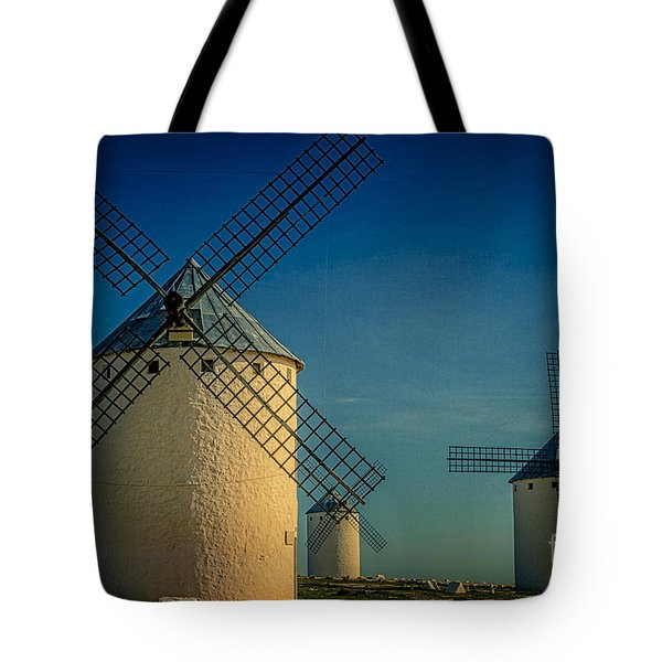 Tote Bag featuring the photograph Windmills Under Blue Sky by Heiko Koehrer-Wagner