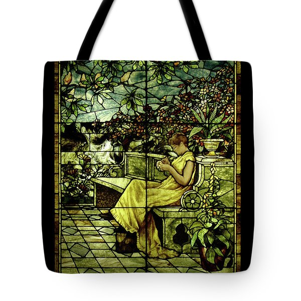 Window - Lady In Garden Tote Bag by Shirley Heyn