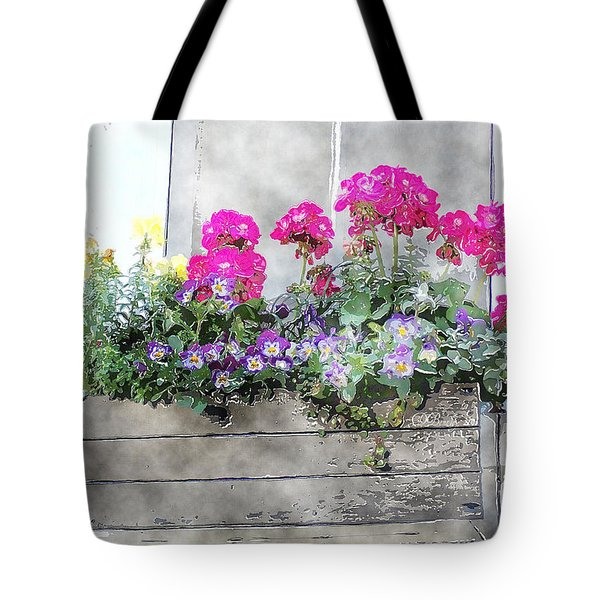 Tote Bag featuring the photograph Window Box 5 by Donna Bentley