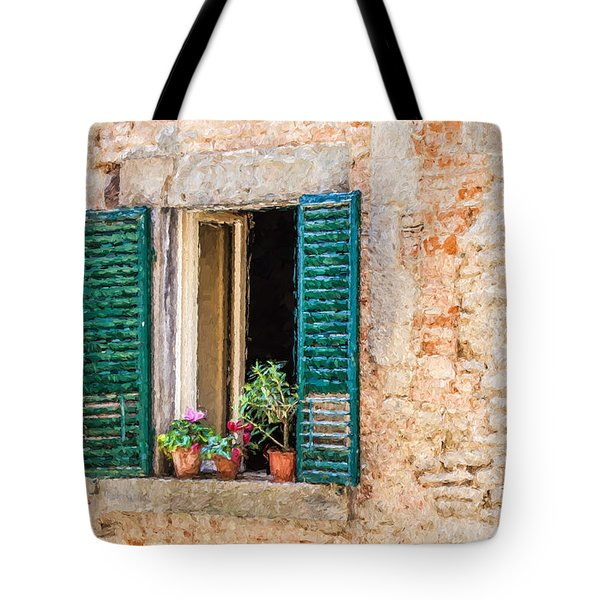 Tote Bag featuring the painting Window Flowers Of Tuscany by David Letts