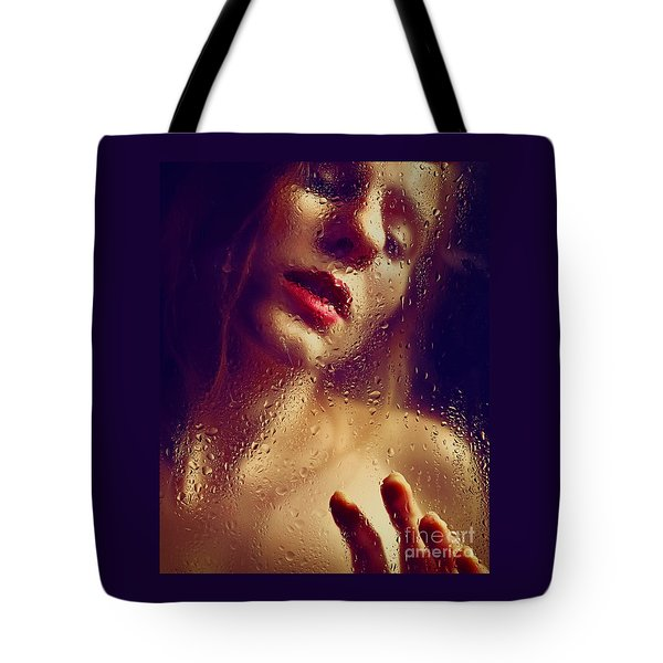 Window -  Sensual Woman Portrait Behind A Rainy Window Tote Bag