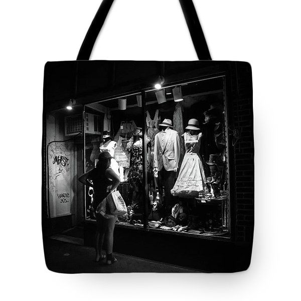 Window Shopping In Black And White Tote Bag