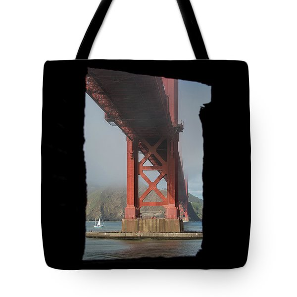 Tote Bag featuring the photograph window to the Golden Gate Bridge by Stephen Holst
