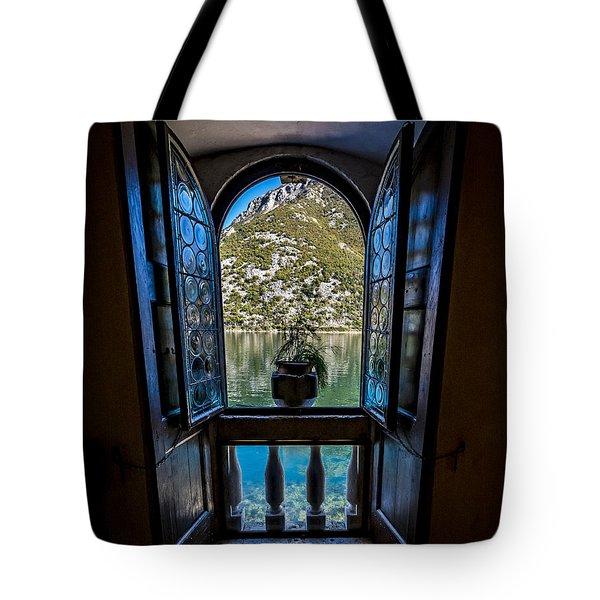 Window To The Lake Tote Bag