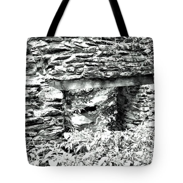 Window View Of Sope Creek In Black And White Tote Bag