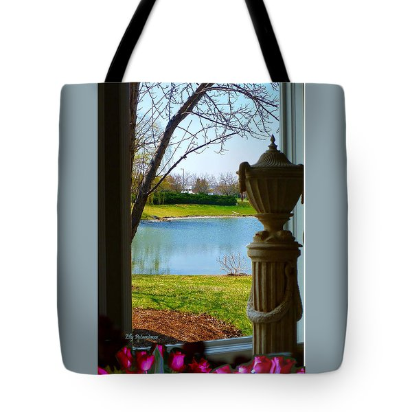 Window View Pond Tote Bag