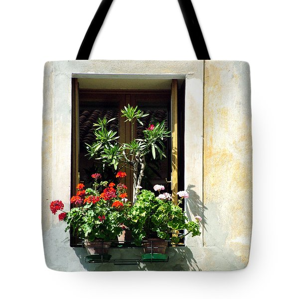 Tote Bag featuring the photograph Window With A Tree by Donna Corless