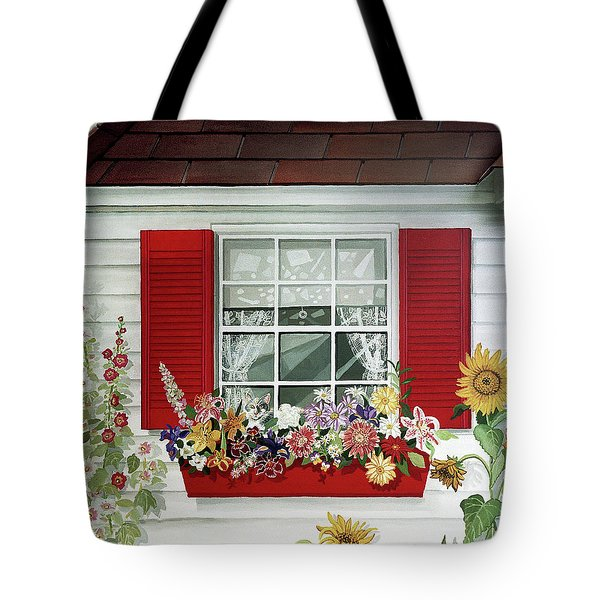 Windowbox With Cat Tote Bag