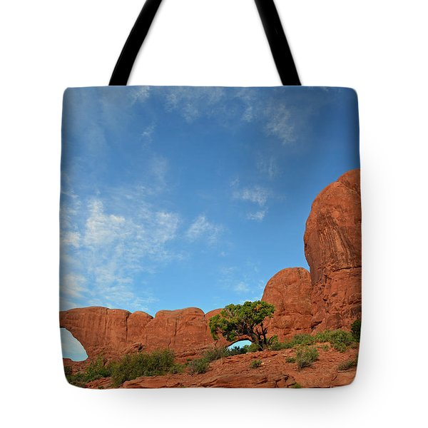 Tote Bag featuring the photograph Windows Arches With Wispy Clouds by Bruce Gourley