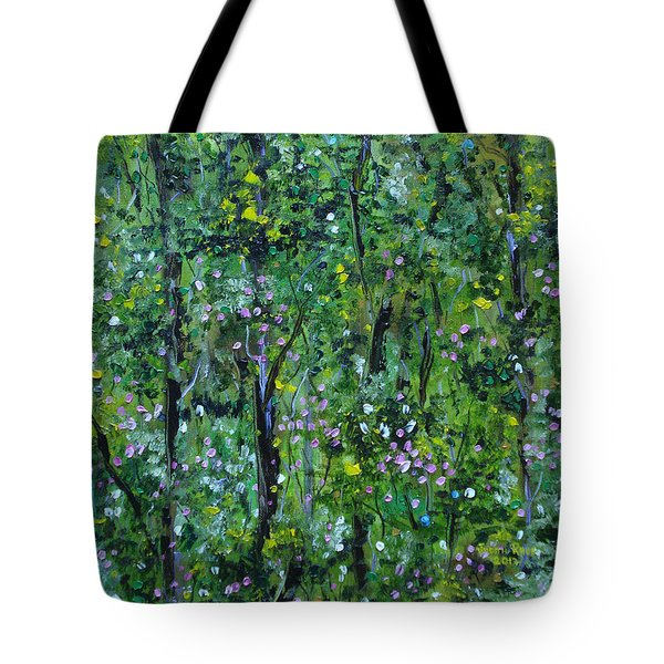 Tote Bag featuring the painting Windsor Way Woods by Judith Rhue