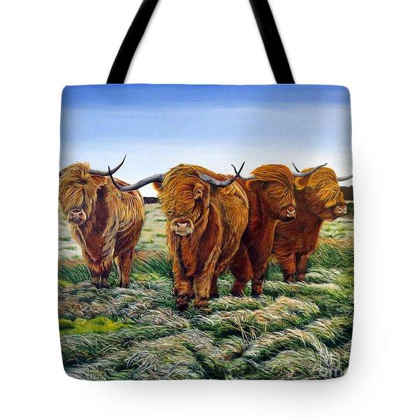 Windswept Highland Cattle  Tote Bag