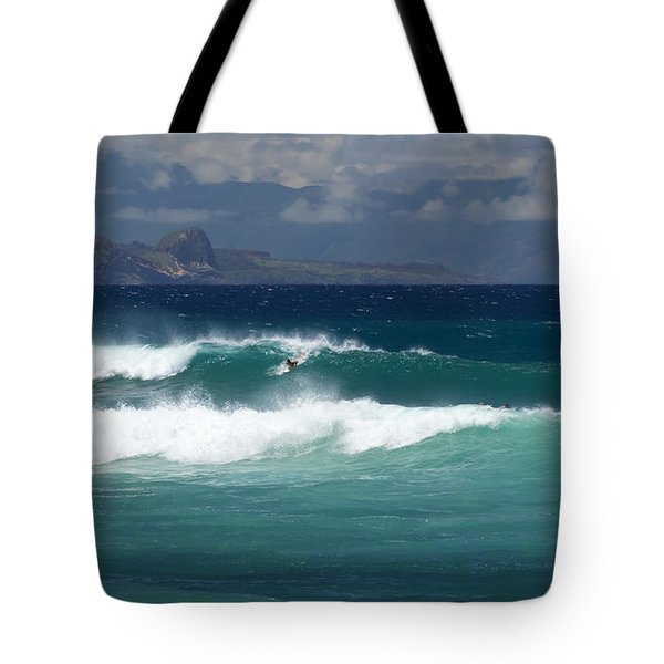 Tote Bag featuring the photograph Windswept Ho'okipa by Susan Rissi Tregoning