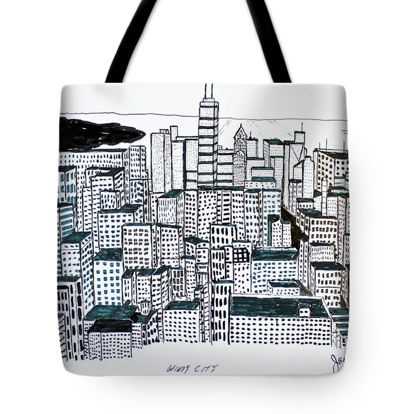 Tote Bag featuring the drawing Windy City by Jack G  Brauer