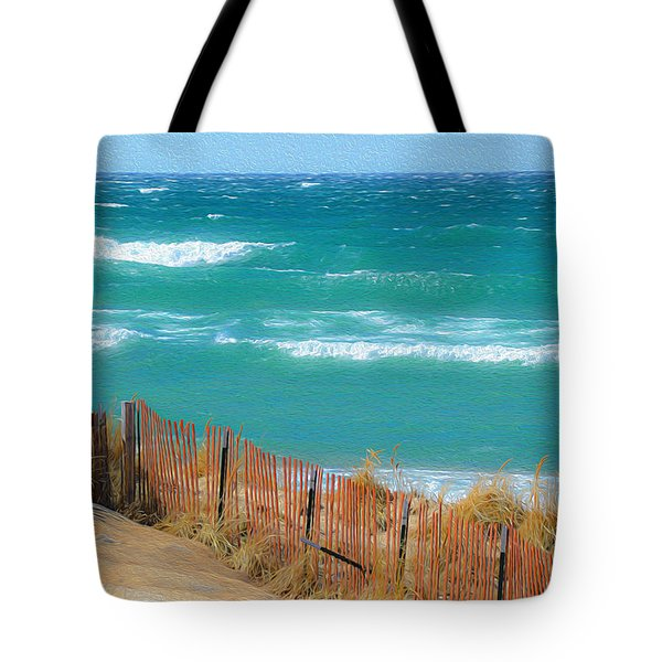Tote Bag featuring the photograph Windy Day On Lake Michigan by SimplyCMB