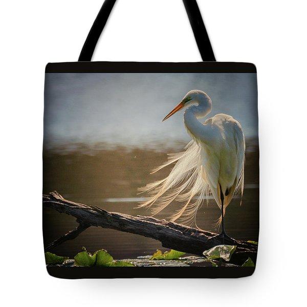 Windy Egret  Tote Bag
