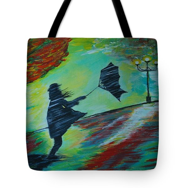 Tote Bag featuring the painting Windy Escapade by Leslie Allen