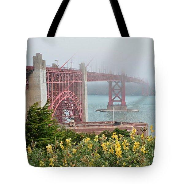 Windy Foggy Golden Gate Bridge  Tote Bag