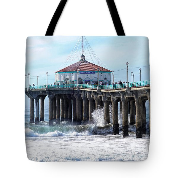 Tote Bag featuring the photograph Windy Manhattan Pier by Michael Hope