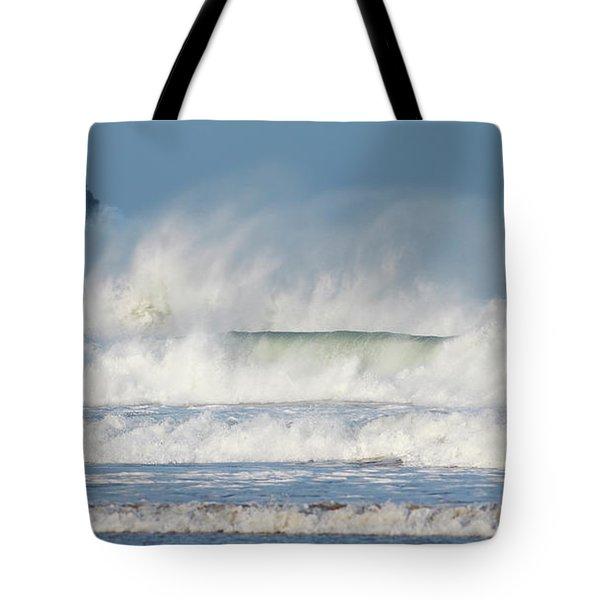 Windy Seas In Cornwall Tote Bag by Nicholas Burningham