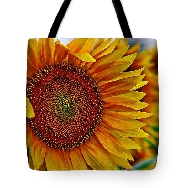 Windy Sunflower Field Tote Bag