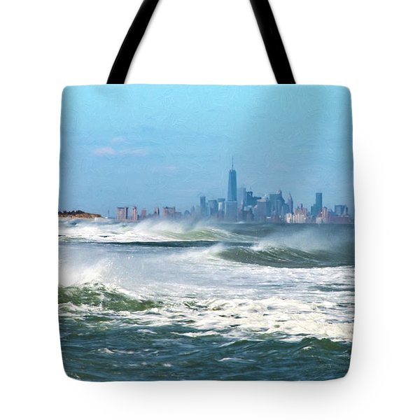 Windy View Of Nyc From Sandy Hook Nj Tote Bag by Gary Slawsky