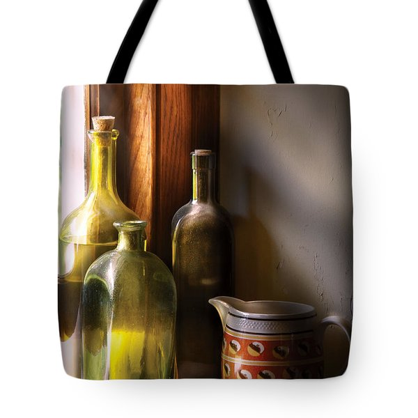 Wine - Three Bottles Tote Bag by Mike Savad