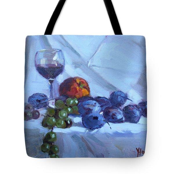Wine And Fresh Fruits Tote Bag
