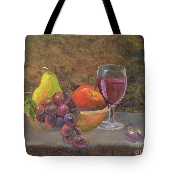 Tote Bag featuring the painting Wine And Fruit by Mary Scott
