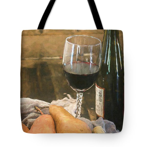 Tote Bag featuring the photograph Wine And Pears by Teresa Wilson