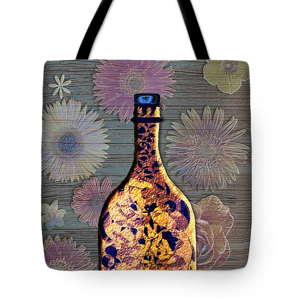 Tote Bag featuring the digital art Wine Bottle And Floral Wall by Iowan Stone-Flowers
