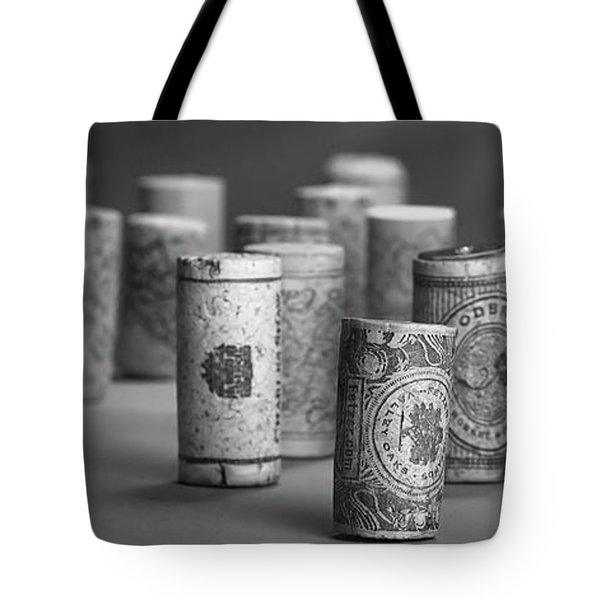 Tote Bag featuring the photograph Wine Cork Panorama In Black And White by Tom Mc Nemar