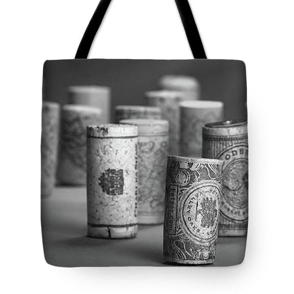 Wine Cork Panorama In Black And White Tote Bag
