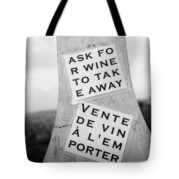 Tote Bag featuring the photograph Wine For Takeaway by Colleen Williams